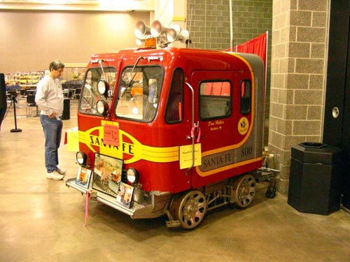 A privately-owned speeder on display at the Mad City Model Railroad Show and Sale in Madison, Wisconsin, February 2004