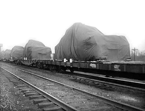 A train of loaded flatcars