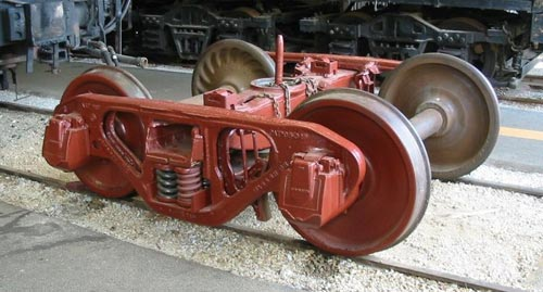 Bettendorf-type freight car bogie; note the solid bearings around the ends of the axles