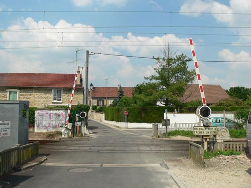Boom barriers at a railway crossing in France