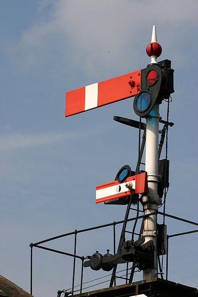 British lower-quadrant semaphore stop signal (absolute) with subsidiary arm (permissive) below