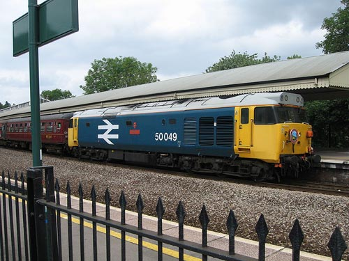 Preserved Class 50 50 049 Defiance, in large logo livery