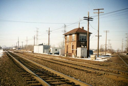 The interlocking tower and tracks at Des Plaines, Illinois, in 1993