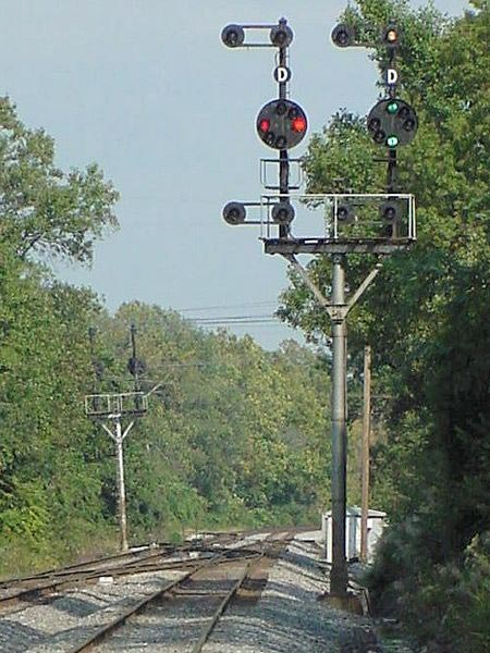 "Two-head color position signal on CSXT mainline at Savage, Maryland. The left head displays ""Stop"", the right head, ""Clear"""