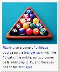 Racking up a game of cribbage pool using the triangle rack